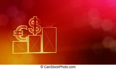 Signs of Bitcoin dollar and euro on columns. Financial background made of glow particles as vitrtual hologram. Shiny 3D loop animation with depth of field, bokeh and copy space. Red v5