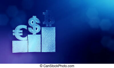 Signs of Bitcoin dollar and euro on columns. Financial background made of glow particles as vitrtual hologram. Shiny 3D loop animation with depth of field, bokeh and copy space. Blue version 3
