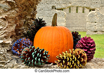 Signs of fall celebrations - A Halloween pumpkin surrounded...