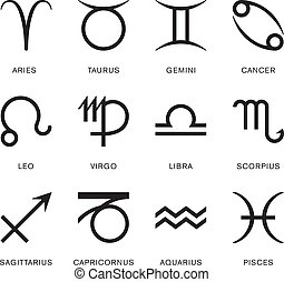 The twelve zodiac signs - star signs - in a simple black and white vector illustration.