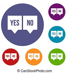 Signs of yes and no icons set