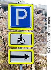 Signs parking for the disabled