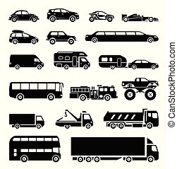 Signs presenting different means of transportation.
