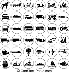 Signs presenting different means of transportation -...