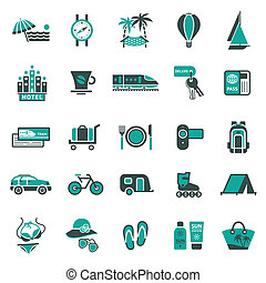 Signs. Vacation, Travel & Recreation. Second set icons