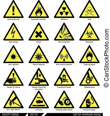 signs., set, attenzione, sicurezza