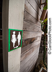 Signs to the bathroom
