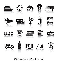 Signs. Tourism. Travel. Sports. First set black icons with ...