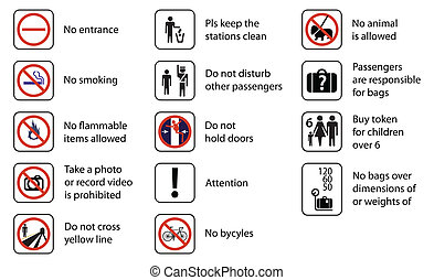 signs used in stations of rail transport systems