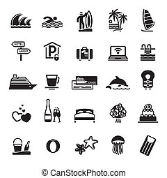 Signs. Vacation, Travel & Recreation. Third set icons in...