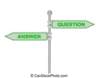 """Signs with green """"ANSWER"""" and """"QUESTION"""" pointing in opposite directions, Isolated on white background, 3d rendering"""