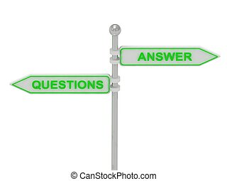 """Signs with green """"QUESTIONS"""" and """"ANSWER"""""""