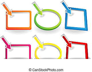 Signs with pointing arrows - Blank white sign or placard...