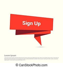 signup, ベクトル, デザイン, 印刷である, 創造的