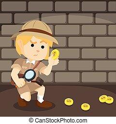siguiente, rastro, moneda, explorador, gilr