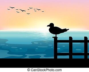 Sihouette bird at sea illustration