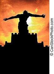 sihouette, cristo, estatua, jesús
