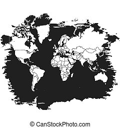 Sihouette Map of the World on Black. Black and White Vector Graphic