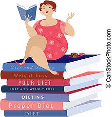 siiting, képben látható, a, diéta