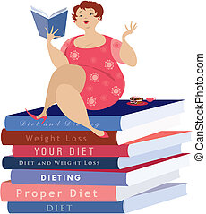 siiting, ligado, a, dieta