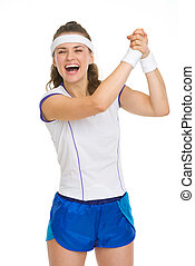 siker, öröm, teniszjátékos, női, boldog