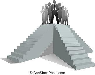 siker, ügy emberek, feláll, befog, lépcsősor, vezető
