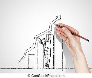 siker, körülbelül, rajz, ügy