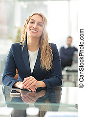 sikeres, ügy woman, noha, neki, bot, alatt, háttér, -ban, hivatal