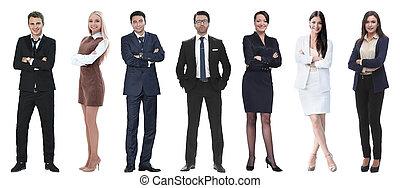 sikeres, csoport, emberek, row., álló, ügy