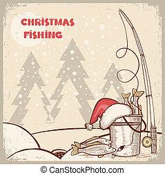 sikeres, halászat, alatt, karácsony, holiday.vector, tél,...