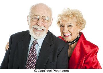 sikeres, idősebb ember, mosolygós, párosít