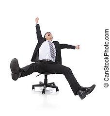sikeres, izgatott, ügy bábu, ül szék