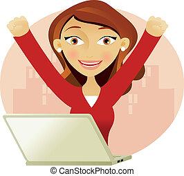 sikeres, nő, képben látható, egy, laptop