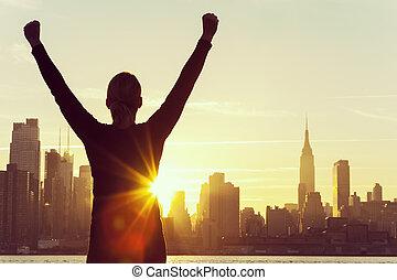 sikeres, nő, napkelte, új york város égvonal