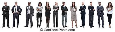 sikeres, row., emberek, álló, csoport, ügy
