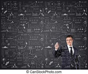 sikeres, szöveg, felett, írás, gre, üzletember, imaginárius,...