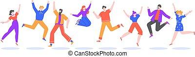 sikeres, tizenéves, csoport, vidám, ugrás, ugrás, betűk, együtt, diákok, mosolygós, vektor, winners, elszigetelt, lakás, emberek, hím, jump., boldog, illustration., fiatal, női, izgatott