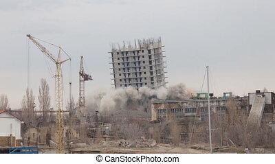 sikertelen, épület, felrobbanás