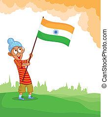 Sikh boy hoisting Indian flag in vector