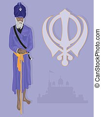 an illustration of a Sikh elder dressed in traditional clothing with purple turban ad tunic and saffron sash with military emblem and gurdwara