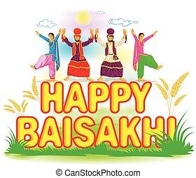 Sikh doing Bhangra, folk dance of Punjab, India for Happy Baisakh