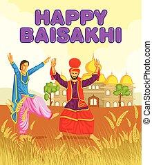 Sikh doing Bhangra, folk dance of Punjab, India for Happy...