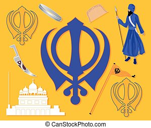 a vector illustration in eps 10 format of elements from Sikh culture with military emblem gurdara; flag khalsa Sikh comb and bracelet on a saffron background