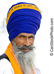 Sikh men in Amritsar, India. - Portrait of Indian sikh men...