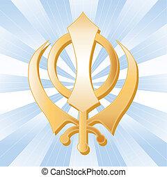 Sikh Symbol, Golden Khanda - Golden Sikh Khanda, symbol of...
