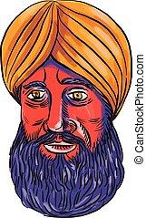 Sikh Turban Beard Watercolor - Watercolor style illustration...