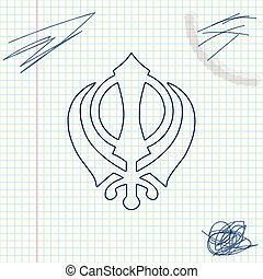 Sikhism religion Khanda symbol line sketch icon isolated on...