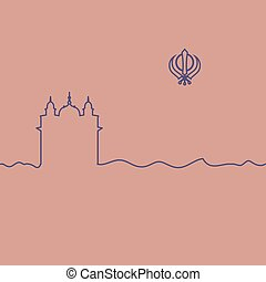Sikhism temple and symbol. One line drawing. Vector.