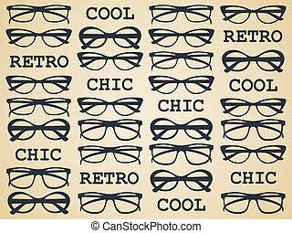 sikk, retro, szemüveg