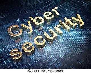 sikkerhed, concept:, gylden, cyber, garanti, på, digital baggrund